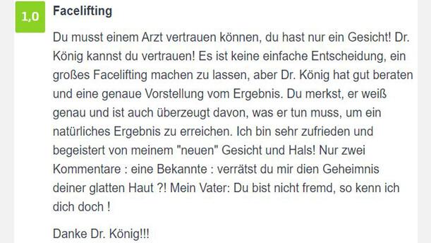 jameda-Bewertung SDP-Facelift Dr. König